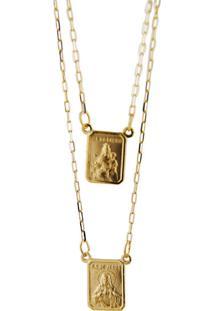 Escapulário De Ouro 18K Com Medalhas De N.S.Carmo E S.C.Jesus