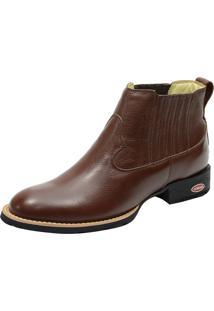 Botina West Country Bico Redondo Atron Shoes 974 Cano Curto Em Couro Cor Pinhão