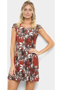 Vestido Ms Fashion Floral - Feminino-Vinho