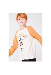 Camisa Hering Kids Infantil Raglan Mickey And Friends Off White