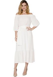 Vestido Alphorria A.Cult Midi Evasê Off White