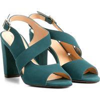 4190a2ef47 Sandália Couro Shoestock Salto Grosso Feminina - Feminino-Azul Petróleo