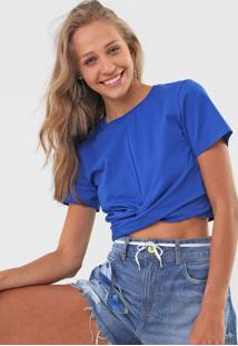 Camiseta Cropped Colcci Torã§Ã£O Azul - Azul - Feminino - Algodã£O - Dafiti
