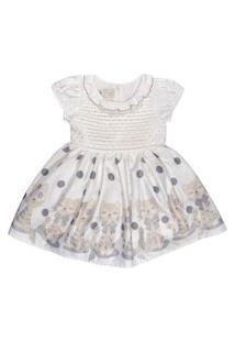 Vestido Para Bebê Barrado Gatinhas Poá - Anjos Baby Bege
