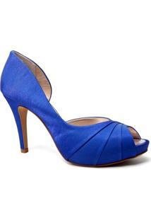 Peep Toe Spaço Criativo 700/124 Feminino Cetim Azul