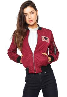 Jaqueta Bomber Facinelli By Mooncity Patche Vinho