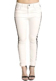 Calça Skinny Sarja Handbook - Feminino-Off White