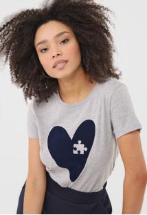 Camiseta Hering Coração Cinza