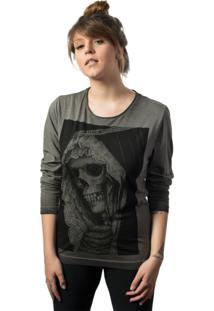 Camiseta Skull Lab Manga Longa Caveira Cinza - Cinza - Feminino - Algodã£O - Dafiti