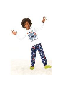 Pijama Infantil Inverno Estampa Monster Malwee Kids