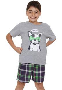 Pijama Menino Manga Curta Juvenil Super Filho Luna Cuore