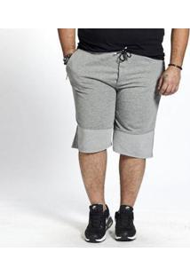 Bermuda Besni Moletom Plus Size Masculina - Masculino-Cinza