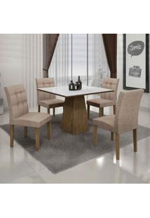 Conjunto De Mesa Com 4 Cadeiras Itália I Ypê E Bege