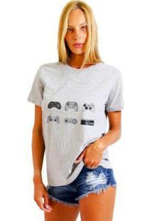Camiseta Joss Estampada Videogames Feminina - Feminino-Mescla
