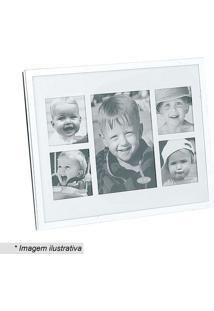 Painel De Fotos Retangular- Prateado & Branco- 20X20Btc Decor