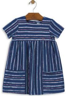 Vestido Listrado Azul