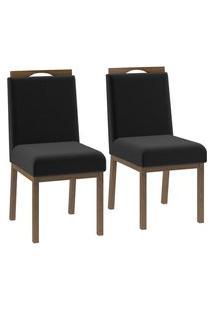 Conjunto 2 Cadeiras Estofadas Sofia Volttoni Poliéster 257 Nogueira