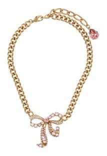 Dolce & Gabbana Crystal-Embellished Bow Necklace - Dourado