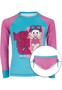 Conjunto De Camiseta Manga Longa Com Proteção Solar Uv E Sunkini Mônica Sol Feminino - Infantil - Azul Cla/Rosa