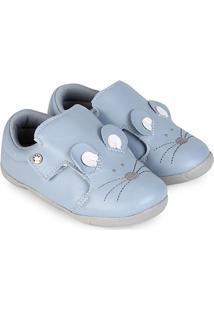 Sapato Couro Infantil Ortopé Dna New Rato Masculino - Masculino-Azul