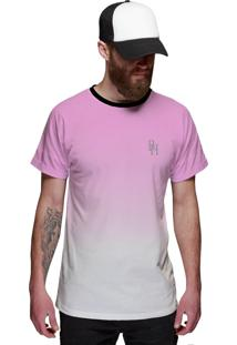 Camiseta Di Nuevo Rosa Bebê Com Branco Degradê Masculina Top