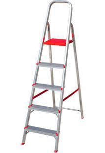 Escada Em Alumínio Com 5 Degraus Prata