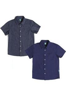 Kit Camisas Jeans Infantil Jokenpô 2 Peças Masculina - Masculino