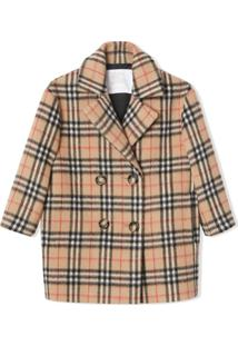 Burberry Kids Vintage Check Alpaca Wool Blend Pea Coat - Neutro