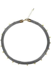 Colar Curto Em Metal E Cristal - Feminino-Prata+Amarelo