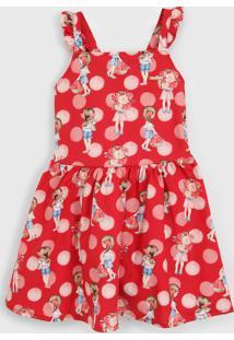 Vestido Carinhoso Infantil Menina Vermelho