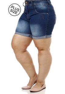 Short Jeans Plus Size Feminino Azul