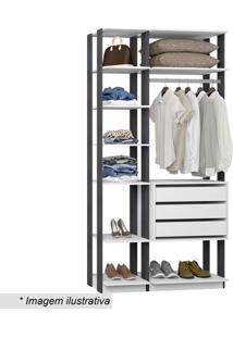 Guarda Roupa Clothes- Branco & Espresso- 220X111X44,Bentec