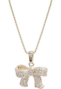 Colar Em Prata Rvt Laço Com Zircônia Convex Jóias - Feminino-Dourado