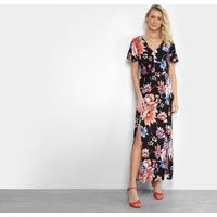 25d4164ba6 Vestido Top Moda Evasê Longo Floral Abertura E Recorte Costas - Feminino- Preto
