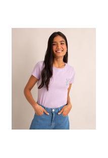 """Camiseta De Algodão """"Se Faz Sentir, Faz Sentido"""" Manga Curta Decote Redondo Lilás"""