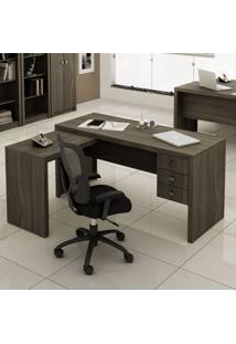 Mesa Para Escritório 3 Gavetas Me4106 Carvalho - Tecno Mobili