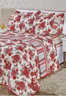 Cobre Leito Bia Enxovais Dupla Face Super King Estampado Requinte 3 Peças - Floral Vermelho