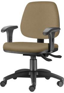 Cadeira Job Com Bracos Curvados Assento Courino Marrom Claro Base Rodizio Metalico Preto - 54620 Sun House