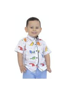 Camisa Hkn Dinossauros Infantil Manga Curta Branca