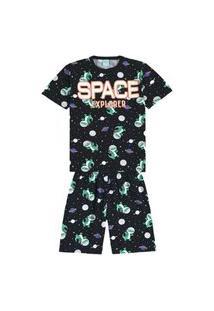 Pijama Menino Manga Curta Estampa Com Relevo Que Brilha No Escuro Kyly - Preto - 12