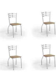 Conjunto Com 4 Cadeiras De Cozinha Portugal Cromado E Capuccino