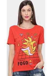 Camiseta Cantão Cassic Fogo Feminina - Feminino-Vermelho