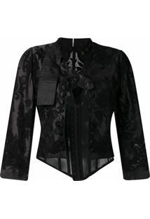 Dolce & Gabbana Jaqueta Com Espartilho E Aplicação De Renda - Preto