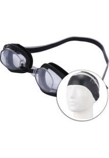 Kit De Natação Speedo Swim 3.0 Com Óculos + Touca + Protetor De Ouvido - Adulto - Preto