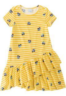 Vestido Com Babados Infantil Malwee Kids Amarelo - 4