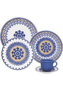 Aparelho De Jantar E Chá Floreal La Carreta 30 Peças - Unissex-Branco+Azul
