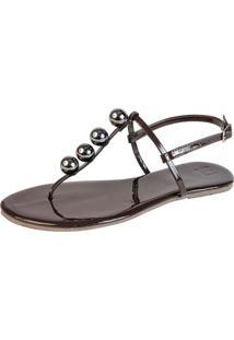 Rasteira Mercedita Shoes Verniz Marrom Com Bola Onix - Marrom - Feminino - Dafiti