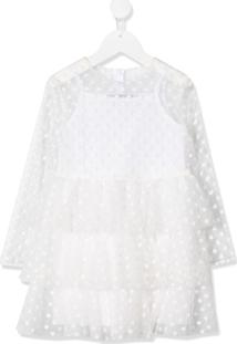 Philosophy Di Lorenzo Serafini Kids Vestido Translúcido Floral Branco