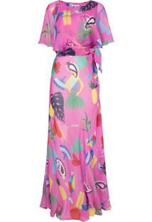 Vestido Longo Seda Isolda Niemeyer - Pink