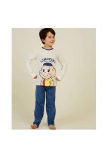 Pijama Infantil Manga Longa Cascão Turma Da Mônica Tam 4 A 10